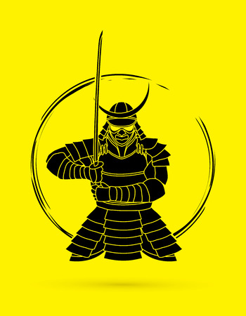 Samurai standing front view ready to fight graphic vector. Vector Illustration
