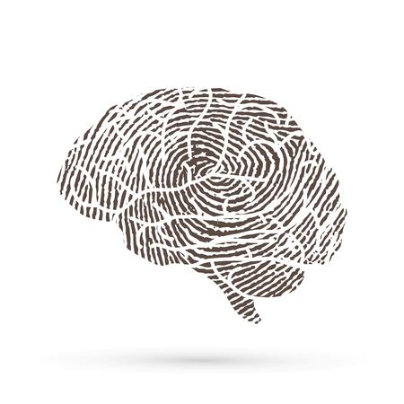 라인 지문 그래픽 벡터를 사용하여 설계된 뇌 측면보기 스톡 콘텐츠 - 91602899