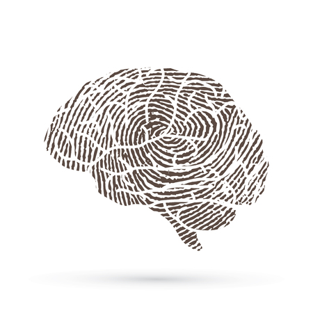 Brain side view designed using line fingerprint graphic vector