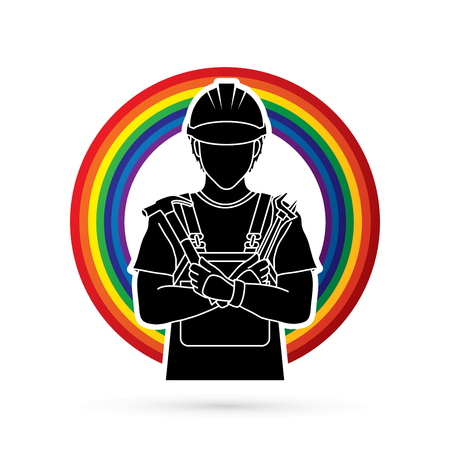 Engineer cartoon designed on line rainbows background graphic vector Illustration