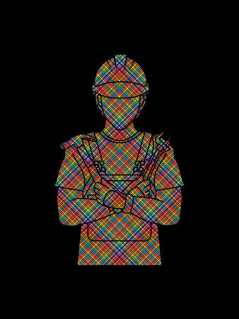 Engineer cartoon designed using colorful pixels graphic vector