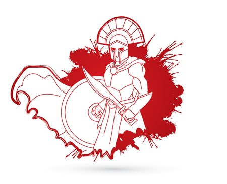 Angry Spartan warrior with Sword and shield designed on splatter blood graphic vector.