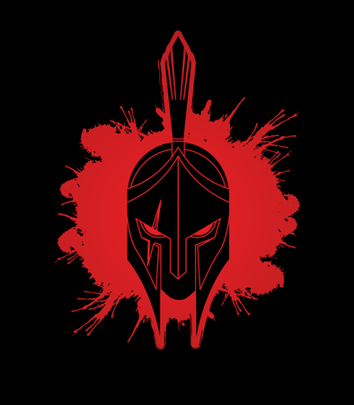 Roman or Greek Helmet , Spartan Helmet, Angry Warrior face designed on splatter blood graphic vector