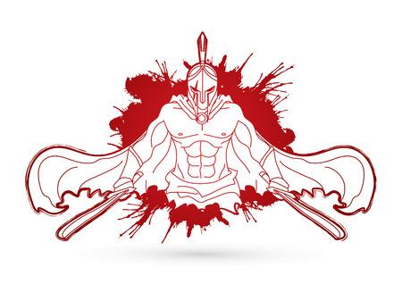 Angry Spartan warrior with Swords  designed on splatter blood graphic vector.