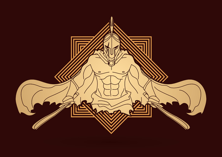 Angry Spartan warrior with Swords  designed on line square graphic vector.