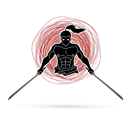 Angry Samurai standing with swords front view designed on grunge line graphic vector.