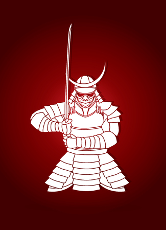 Samurai standing front view ready to fight graphic vector. Illustration