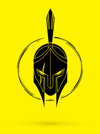Roman or Greek helmet, Spartan helmet. Angry Warrior face graphic illustration. Vectores