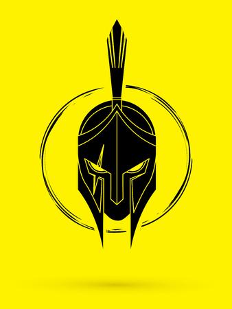 Roman or Greek helmet, Spartan helmet. Angry Warrior face graphic illustration. Vettoriali