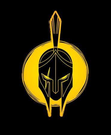 Roman or Greek helmet, Spartan helmet. Angry warrior face designed on grunge circle background.