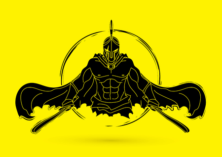 Angry spartan warrior with sword, vector illustration. Ilustracja