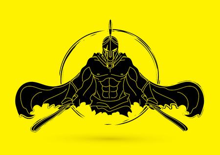 Verärgerter spartanischer Krieger mit Klinge, Vektorillustration. Standard-Bild - 91666031