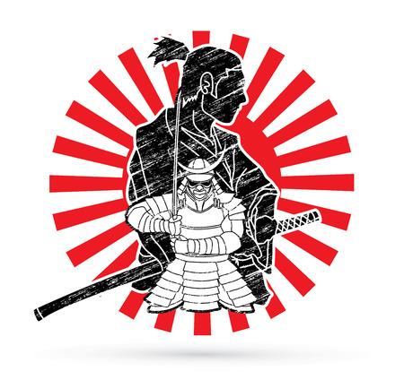 Samurai composition cartoon designed on sunlight background graphic vector