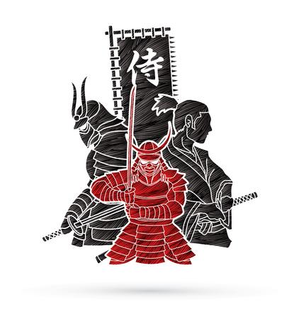 Samurai composition designed using grunge brush cartoon graphic vector Illustration
