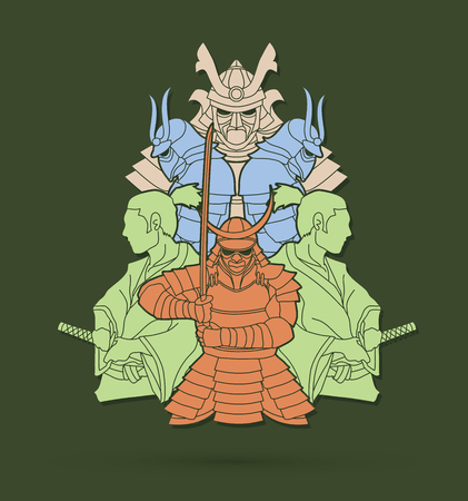 Samurai, Ready to fight composition graphic vector Illustration