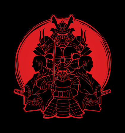 Samurai, Ready to fight composition designed on sunlight graphic vector 向量圖像