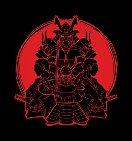 Samurai, Ready to fight composition designed on sunlight graphic vector Illustration