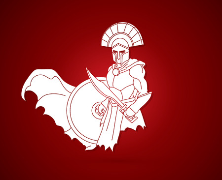 Angry Spartan warrior with Sword and shield graphic vector.