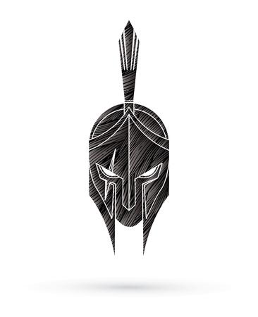 Römischer oder griechischer Helm, spartanischer Helm, Gesicht des wütenden Kriegers, entworfen unter Verwendung des grafischen Vektors des Schmutzpinsels