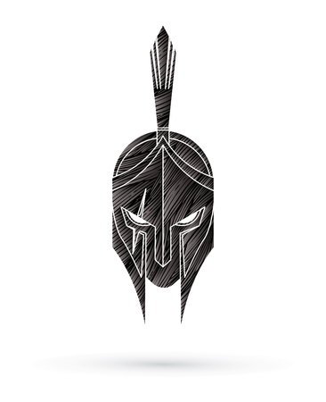 Roman or Greek Helmet , Spartan Helmet, Angry Warrior face designed using grunge brush graphic vector