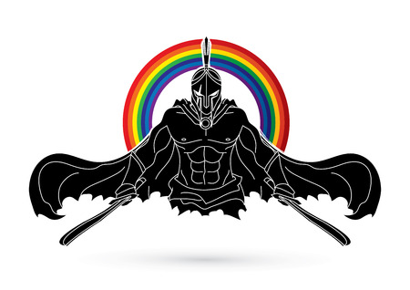 Angry Spartan warrior with Swords  designed on rainbows background graphic vector.