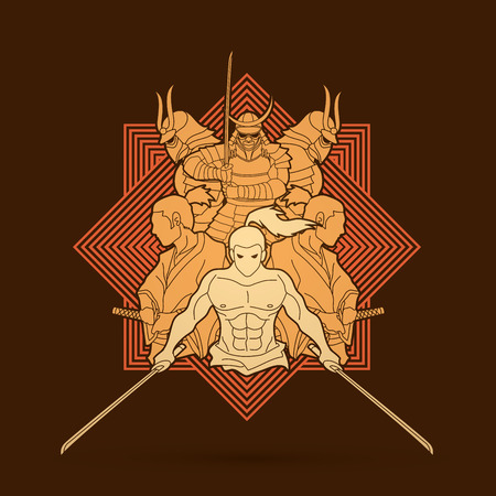 Group of Samurai, Ready to fight action cartoon designed on line square background graphic vector Illustration