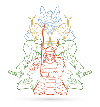 Samurai, Ready to fight composition outline graphic vector