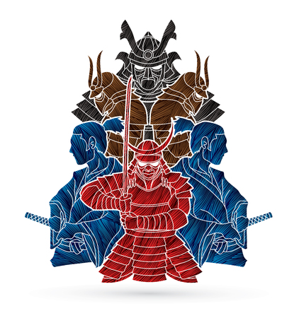 Samurai, Ready to fight composition designed using grunge brush graphic vector