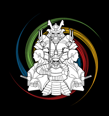Samurai, Ready to fight composition on spin wheel graphic vector