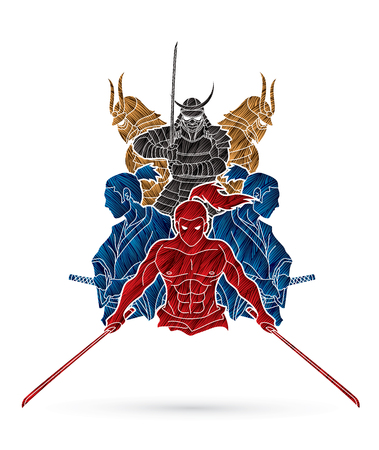 Group of Samurai, Ready to fight action cartoon designed using grunge brush graphic vector