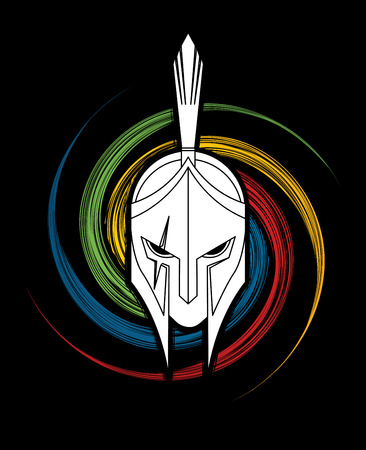 Spartan Helmet designed on spin wheel background graphic illustration.