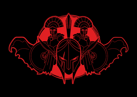 Angry Warriors graphic composition designed on sunlight background