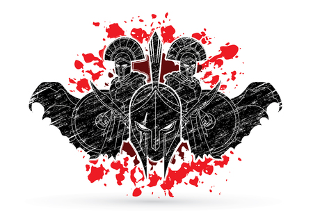 Angry Warriors graphic composition designed on splatter blood background