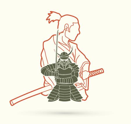 2 Samurai composition cartoon outline graphic vector Vettoriali