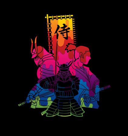 3 Samurai composition with flag Japanese font that means Samurai