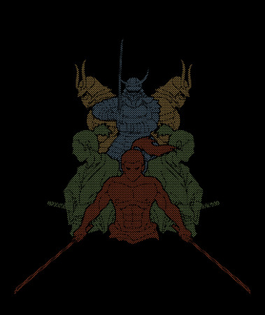 Group of Samurai, Ready to fight action designed using dots pixels cartoon graphic vector