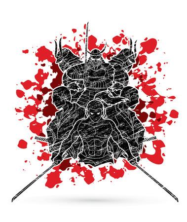 Group of Samurai, Ready to fight action designed on splatter blood background Illustration