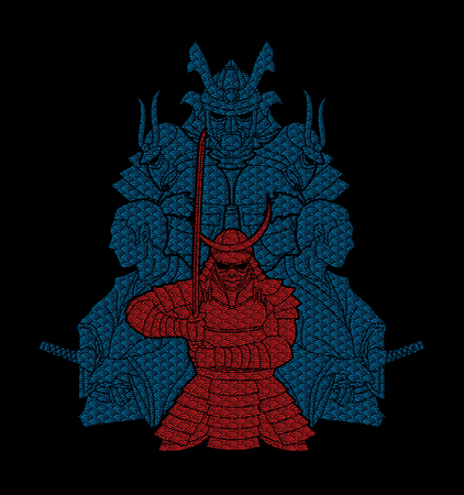 Samurai, Ready to fight composition designed using line wave graphic vector