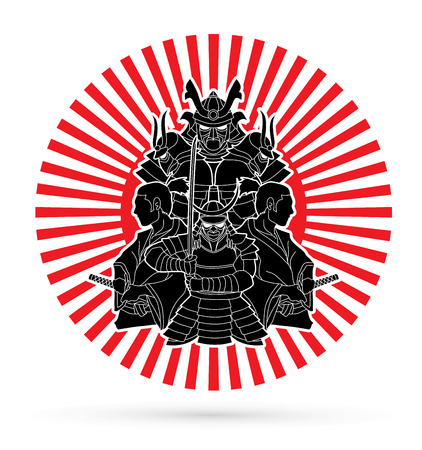 Samurai, Ready to fight composition designed on sunshine graphic vector