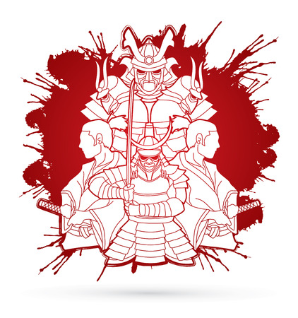 Samurai, Ready to fight composition designed on splatter blood graphic vector