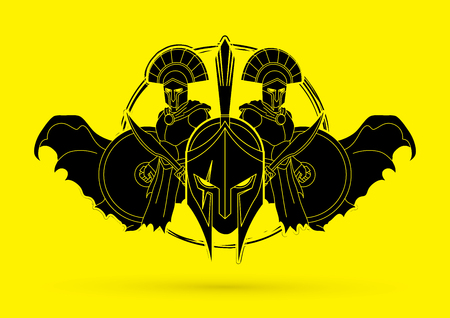 Roman or Greek Helmet , Spartan Helmet, and Angry Warrior composition graphic vector Illustration
