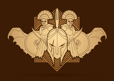 Roman or Greek Helmet , Spartan Helmet, and Angry Warrior composition designed on line square background graphic vector Vectores