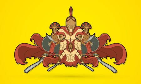 Group of Spartan warriors, Roman Helmet composition graphic vector Vectores