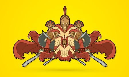 Group of Spartan warriors, Roman Helmet composition graphic vector Illustration