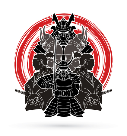 Samurai, Ready to fight composition designed on grunge cycle background graphic vector