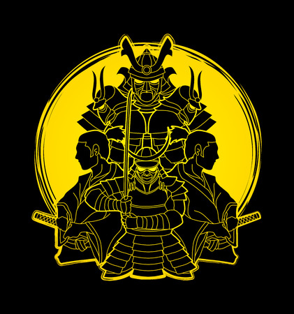 Samurai, Ready to fight composition designed on grunge moonlight background graphic vector Illustration