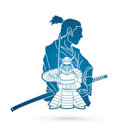 2 Samurai composition cartoon  graphic vector Çizim