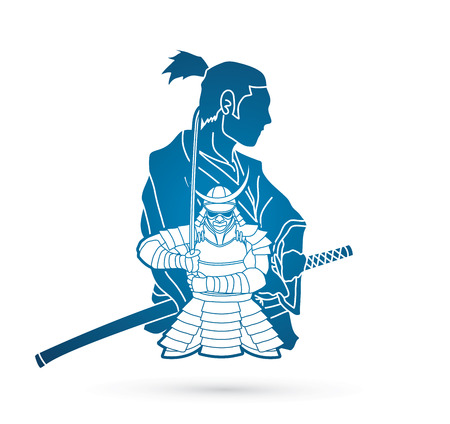 2 Samurai composition cartoon  graphic vector Illustration