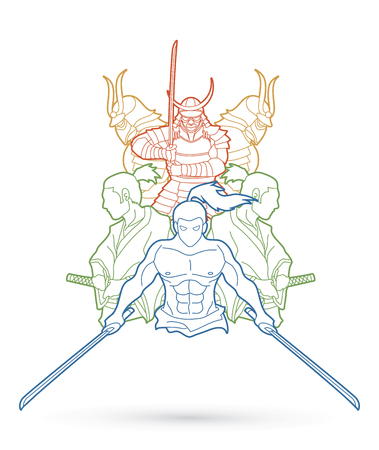 Group of Samurai, Ready to fight action outline cartoon graphic vector