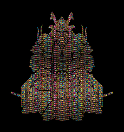 Samurai, Ready to fight composition designed using colorful mosaic pattern graphic vector